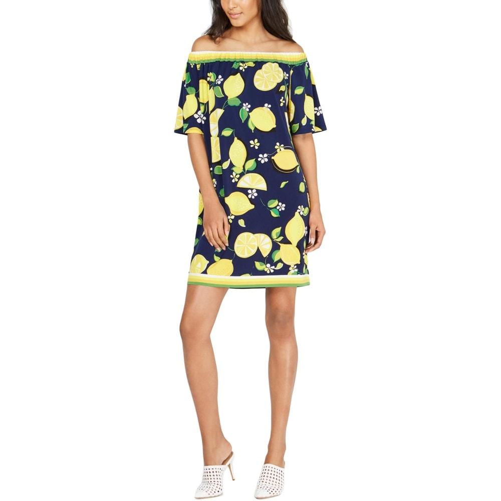 Trina Turk Womens Kelso Shift Dress Lemon Print Off-The-Shouler - Ink/Navy
