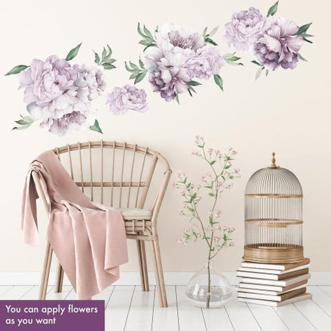 Watercolor Peony Flowers Set Decal