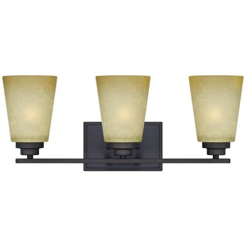 Westinghouse 63442C Ewing Bathroom Vanity Light with 3 Lights with Smoldering Scavo Glass