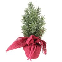 "8.5"" Metallic Finished Mini Pine Christmas Tree in Burlap Covered Vase - N/A"