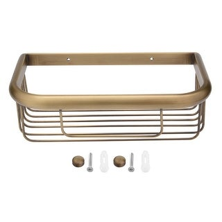 10-inch Brass Wall Mount Rectangle Shape Bathroom Shower Basket Bronze Tone