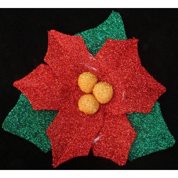 """22"""" Christmas Traditions Pre-Lit Tinsel Poinsettia Christmas Window Decoration - RED"""
