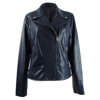 Tommy Hilfiger Women's Faux-Leather Moto Jacket (XS, Navy) - Navy - XS
