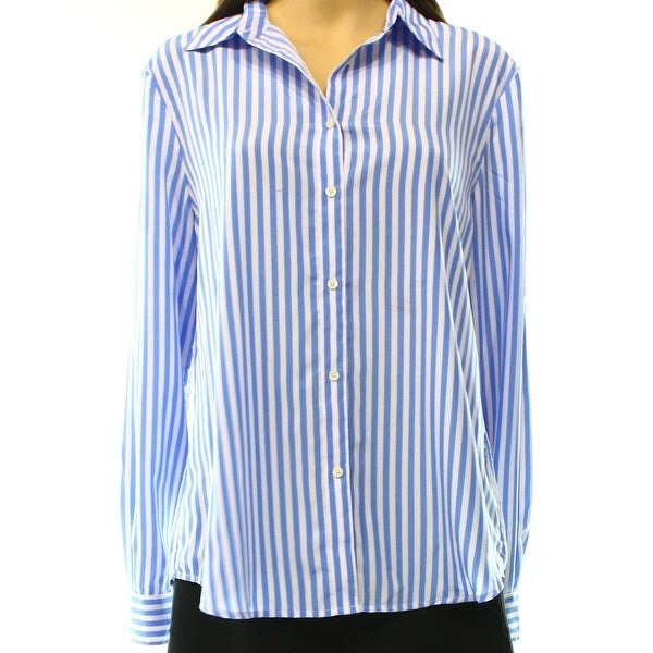 Polo Ralph Lauren NEW Blue White Striped Women\u0026#x27;s 8 Button Down Shirt