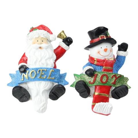 Set of 2 Santa and Snowman Glittered Christmas Stocking Holders 6.25