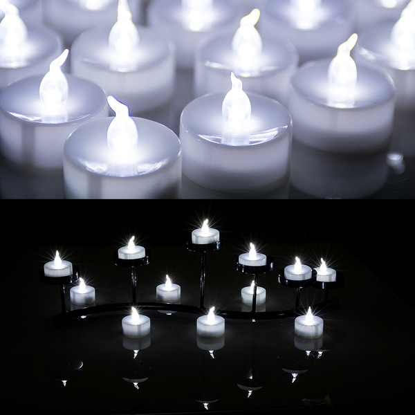 Image 24PCS Flameless Smokeless LED Tealight Light Candles Battery Operated Cool White
