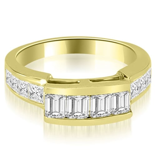 1.40 cttw. 14K Yellow Gold Channel Diamond Princess and Emerald Cut Wedding Band
