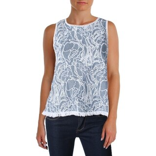 Generation Love Womens Tank Top Fringe Cut-Out