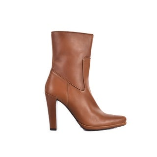 Car Shoe By Prada Women's Solid Brown Leather Mid Calf Boots