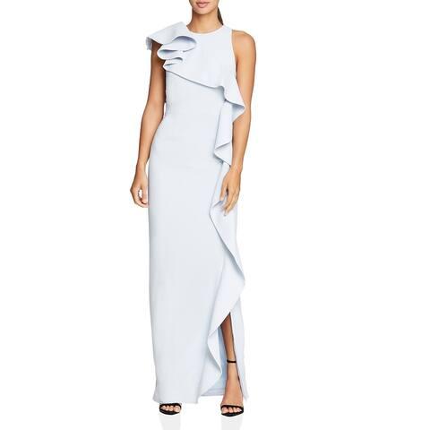 Halston Womens Evening Dress Sleeveless Flounce - Slate Grey
