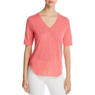 Nally & Millie Womens Pullover Sweater V-Neck Short Sleeves