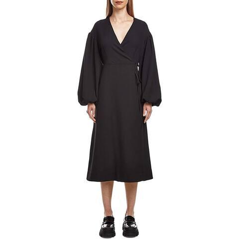 Ganni Womens Solid Black Heavy Crepe Long Sleeve Wrap Midi Dress