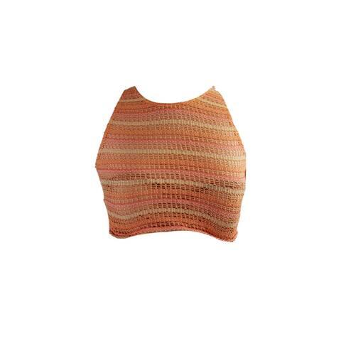 Volcom Orange Crochet Wildly Bare Crop Bikini Top XS