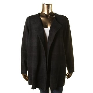 Eileen Fisher Womens Plus Open Front Muted Plaid Basic Jacket