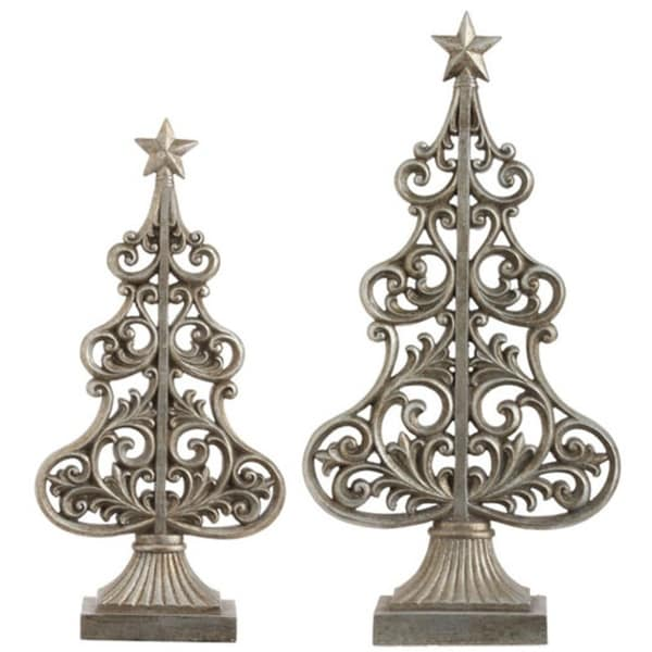Set of 2 Seasons of Elegance Antique Silver Scroll Christmas Tree Decorations
