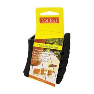 Plant Stand PT-06BLCS Pot Toes Planter Risers, Plastic, Black, 6 Pack