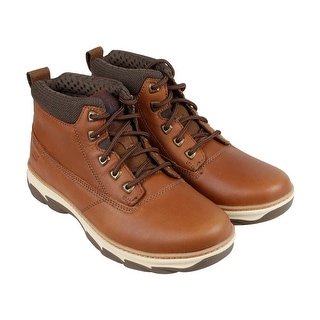 Skechers Alento Mens Tan Leather Casual Dress Lace Up Boots Shoes