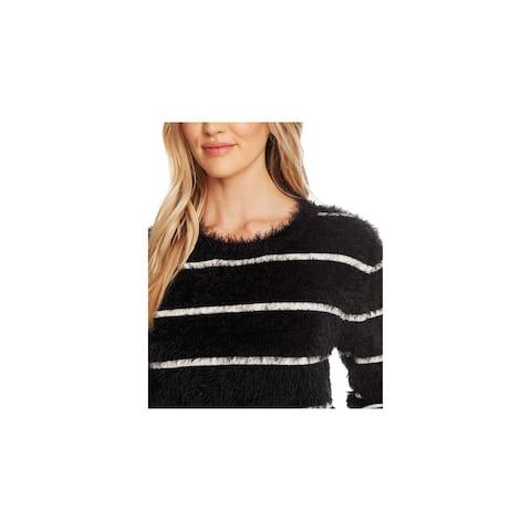 CECE Womens Black Frayed Long Sleeve Jewel Neck Sweater Size L
