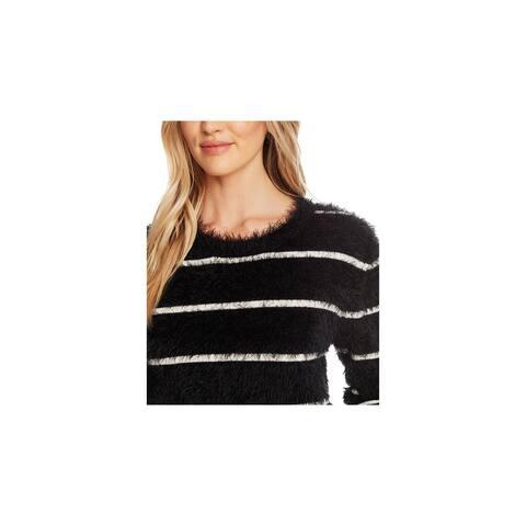 CECE Womens Black Frayed Long Sleeve Jewel Neck Sweater Size M