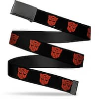 Blank Black  Buckle Autobot Logo Repeat Black Red Webbing Web Belt