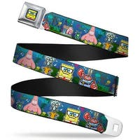 Pixelated SpongeBob Nerd Pose Full Color Blue SpongeBob & Friends 8 Bit Seatbelt Belt