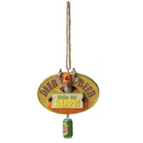 """3.5"""" Funny """"Deer & Beer"""" Quote Plaque Christmas Ornament"""