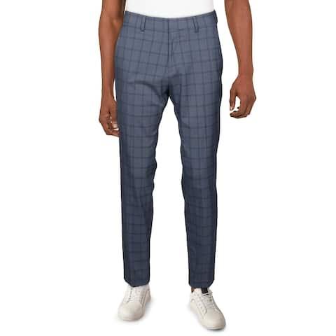Kenneth Cole Reaction Mens Dress Pants Plaid Slim Fit - Dark Blue