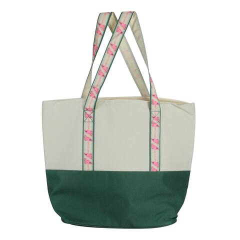"""17"""" Green and Beige Insulated Cooler Tote with Flamingo Straps - medium"""