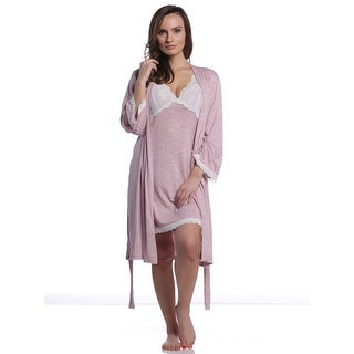 Body Touch Women's Lace Insert Robe & Gown Set - Mauve