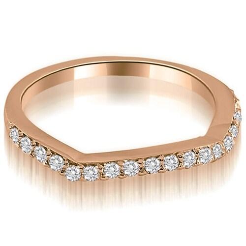 0.25 cttw. 14K Rose Gold Curved Round Cut Diamond Wedding Ring