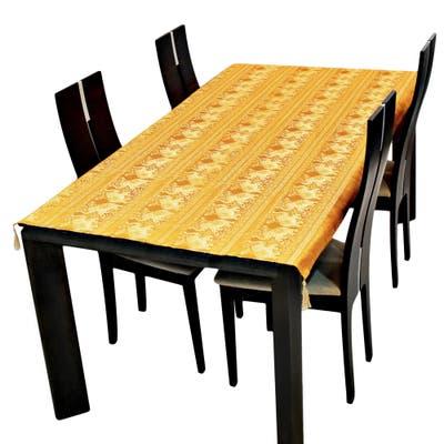Handmade Thai Golden Elephant Print Rectangle Silk Table Cloth (Thailand)