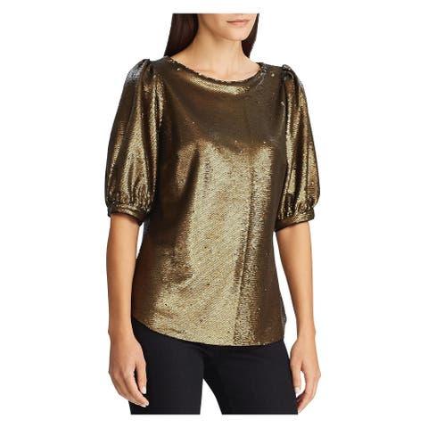 RALPH LAUREN Womens Gold 3/4 Sleeve Jewel Neck Evening Top Size XS