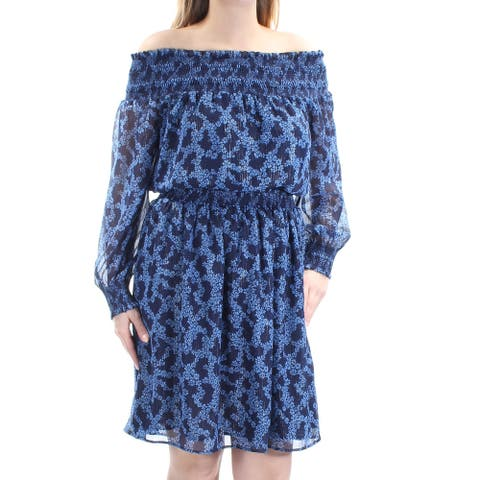 MICHAEL KORS Blue Long Sleeve Above The Knee Blouson Dress Size L
