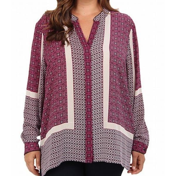 Shop NYDJ NEW Boysenberry Purple Womens Size 2X Plus Button Down Shirt -  Free Shipping Today - Overstock.com - 19388391 f7932c013097f