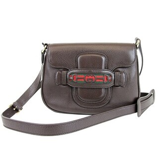 "Gucci Brown Dressage Leather Shoulder Bag 296854 - Dark brown - 8.5"" l x 6"" h x 1.75"" w"