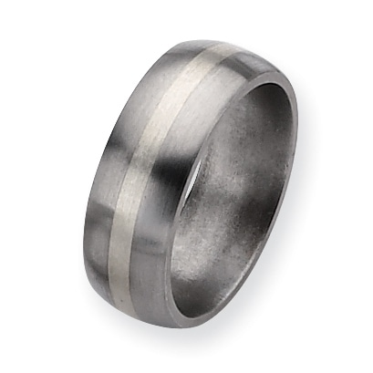 Chisel Sterling Silver Inlaid Brushed Titanium Ring (8.0 mm)