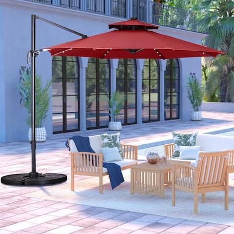 Ainfox 10ft Offset Hanging Patio Market Cantilever Solar Umbrella