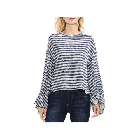 Vince Camuto Womens Pullover Sweater Striped Bell Sleeves
