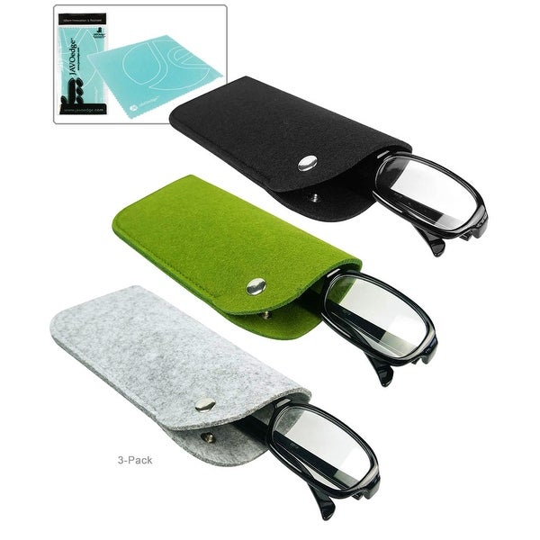 3 PACK: Black, Gray, GreenSlip In Felt Pouch Eyeglass Case with Button Closure and Microfiber Cleaning Cloth