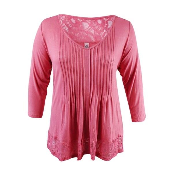 Shop American Rag Womens Trendy Plus Size Shirred Lace Trim Top 2x
