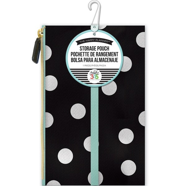 "Create 365 Happy Planner Pouch 5.75""X9.25""-White Scattered Dot"