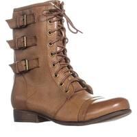 madden girl Ginghamm Triple Bucklet Combat Boots, Cognac - 10 us