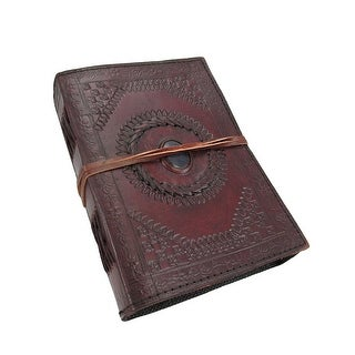 Embossed Leather Blue Stone 120 Page Unlined Journal - brown