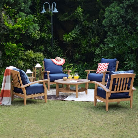 Havenside Home Leon 5-piece Teak Outdoor Conversation Set, Navy Cushion