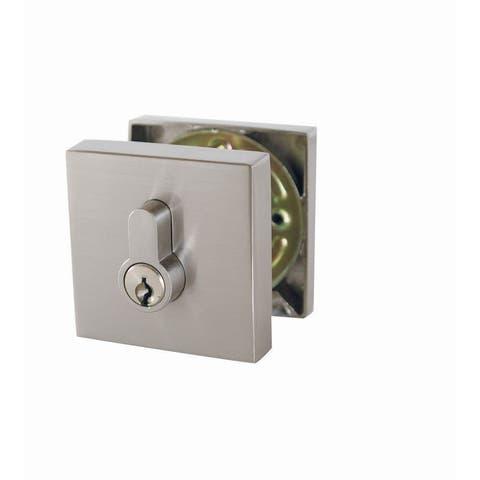 Design House 581835 Emblem Single Cylinder Keyed Entry Deadbolt with Radius Corner Latch Faceplate