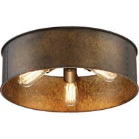 "Nuvo Lighting 60/5893 Kettle 3-Light 12"" Wide Flush Mount Drum Ceiling Fixture - weathered brass - n/a"