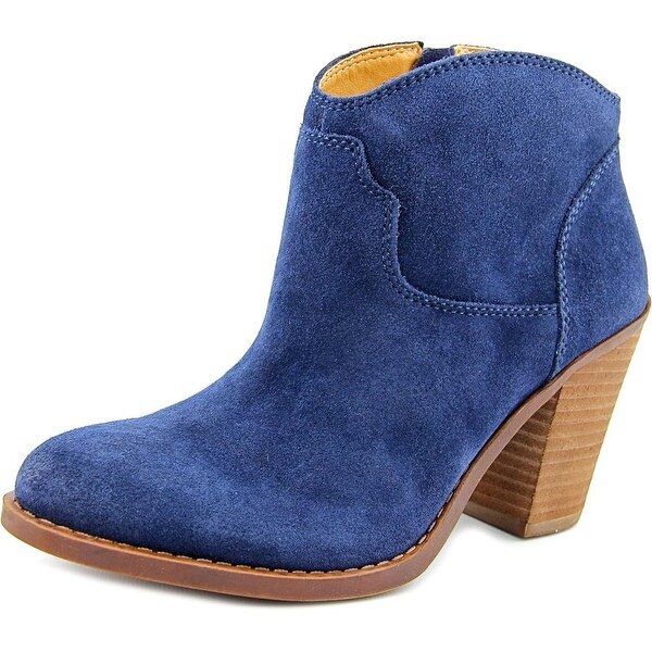 Lucky Brand Eller Women Round Toe Leather Blue Bootie
