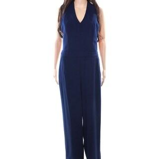 Trina Turk NEW Blue Indigo Women's Size 4 Split-Neck Seam Jumpsuit