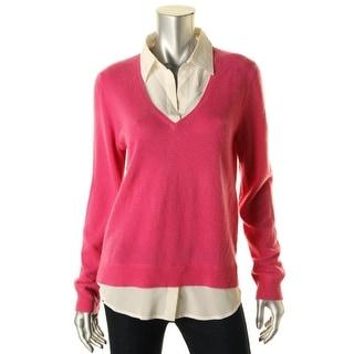 Ralph Lauren Womens Cashmere Faux Shirt Collar Pullover Sweater