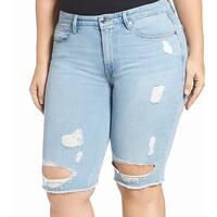 Good American Blue Destroyed Denim Women Size 6 Bermuda Shorts